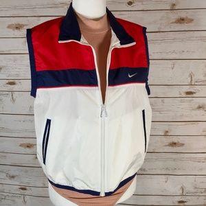 Vintage Nike Nylon Vest Spell Out Red White Blue M